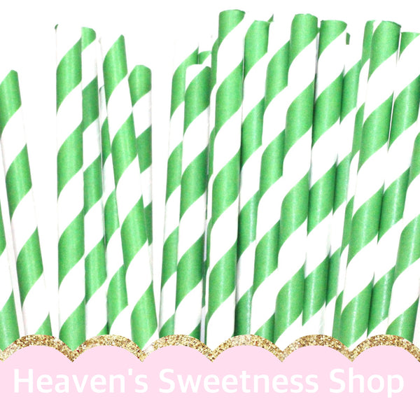Green Stripes Paper Straws