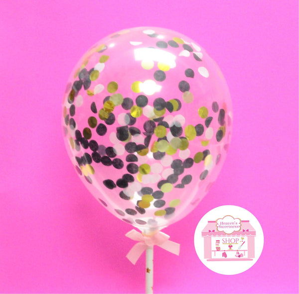 Confetti Balloon Cake Topper | BLACK + GOLD
