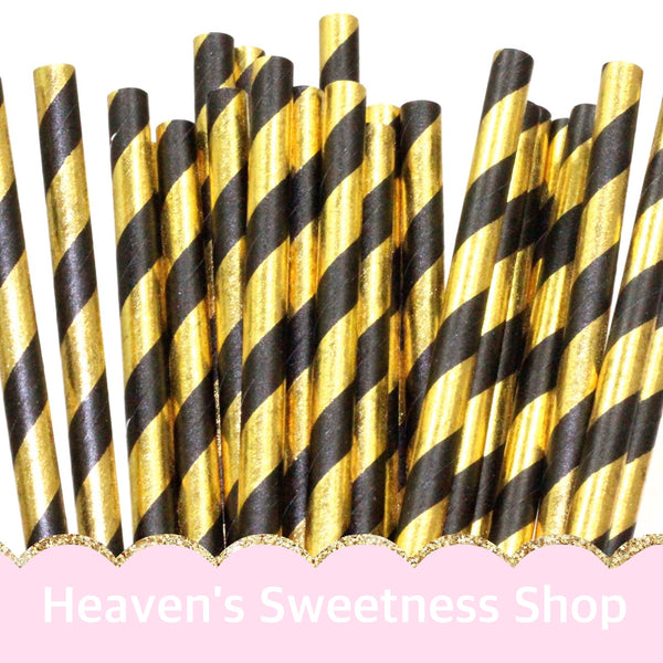 Paper Straws - Black/Gold Foil Striped 25PK