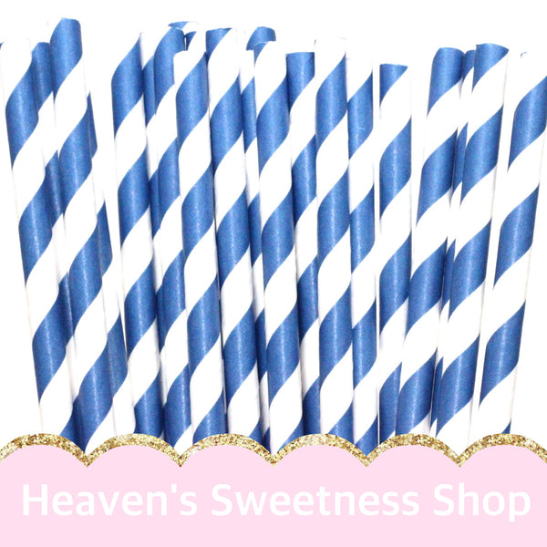 Blue Striped Paper Straws