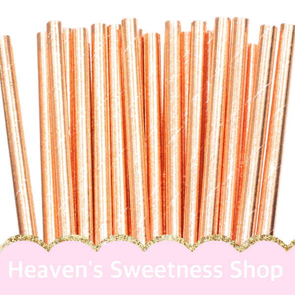 Paper Straws - Rose Gold 25/PK