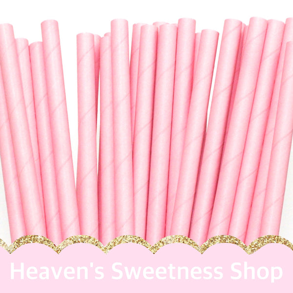 Solid Pastel Pink Paper Straws (5296013191)
