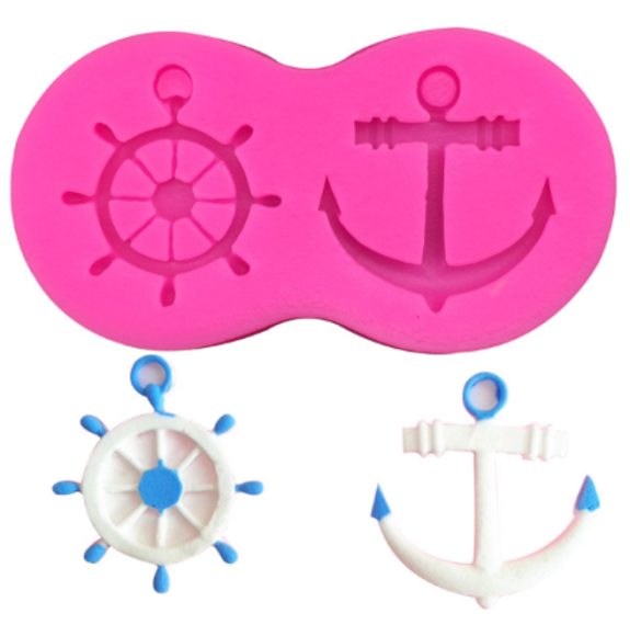Nautical Wheel & Anchor Silicone Mold (5341327879)
