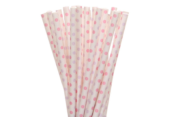 Light Pink and Lavender Mini Polka Dots Paper Straws