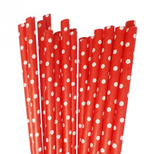 Red with White Mini Polka Dots Paper Straws