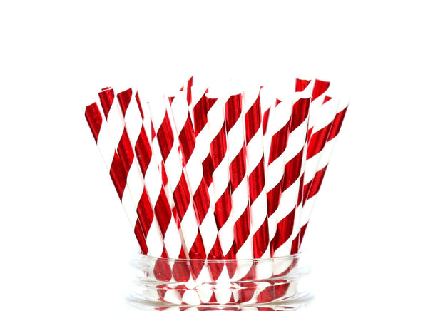 Red Foiled Striped Paper Straws