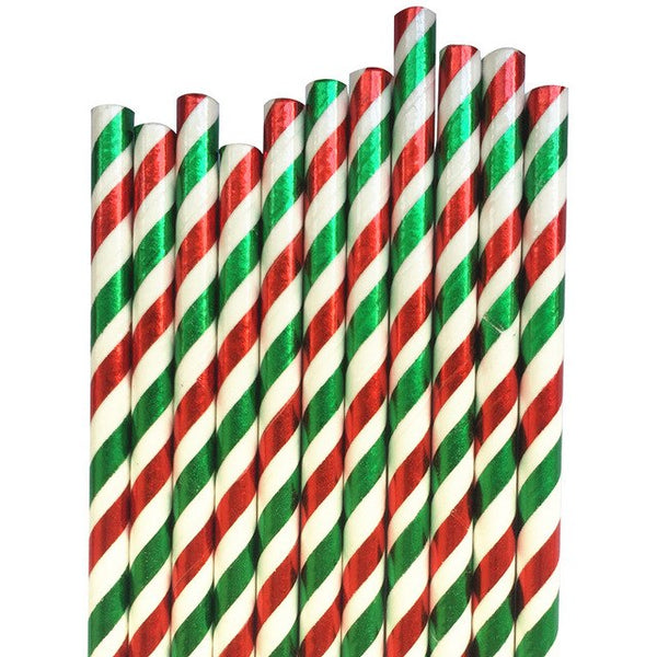 Green, Red, and White Foil Striped Paper Straws