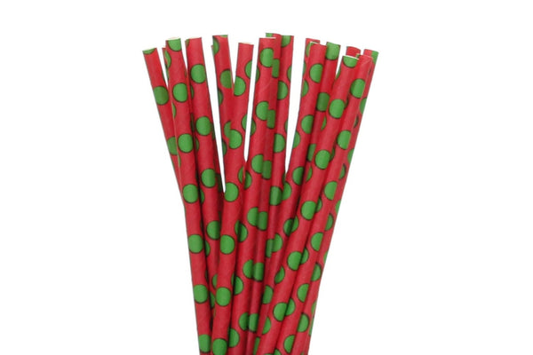 Red with Green Polka Dots Paper Straws