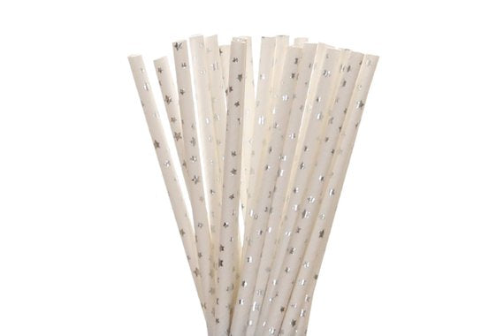 Paper Straws - White with Silver Stars
