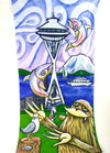 Space Needle Seattle Gaiter Face Covering | Wearable art by Seattle Mural Artist Ryan Henry Ward