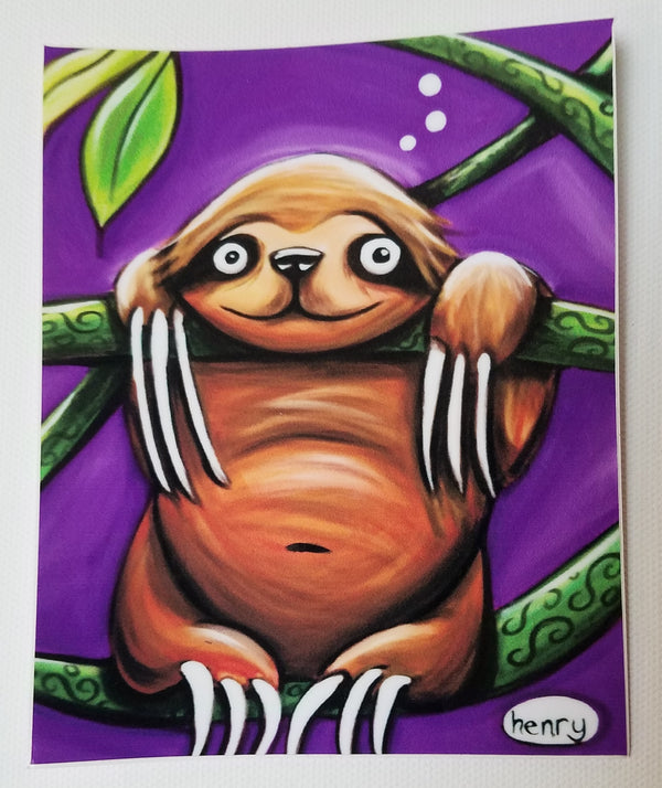 Happy Sloth Hanging out in the Jungle Sticker - Art of Henry