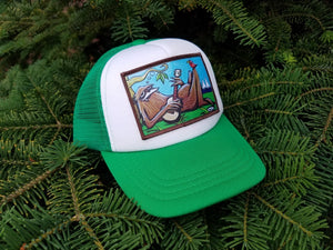Sasquatch Chilling Little Henry Trucker Hat - Art of Henry