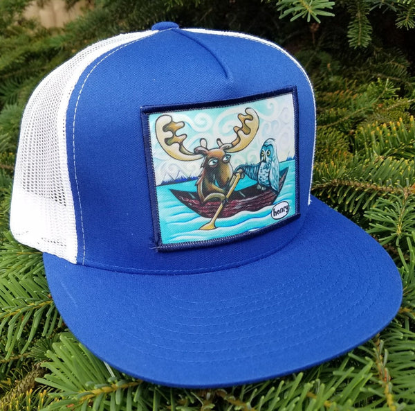Moose and Owl in Canoe Flat Bill Trucker Hat