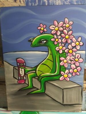Flower lizard and skateboard
