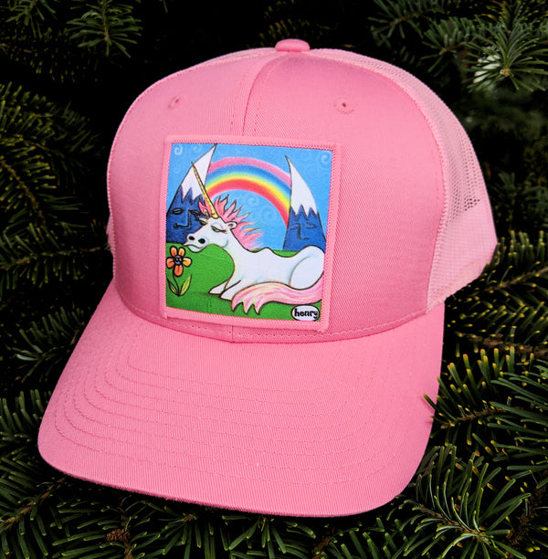 Unicorn Under a Rainbow Trucker Hat