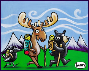 Bear, Moose and Raven Hiking Sticker - Art of Henry