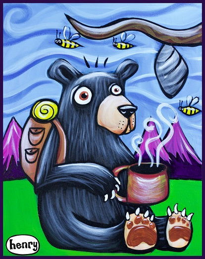 Bear with Coffee and Bees Sticker - Art of Henry