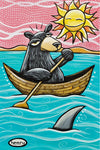 Bear in Canoe Canvas Giclee Print Featuring Original Art by Seattle Mural Artist Ryan Henry Ward