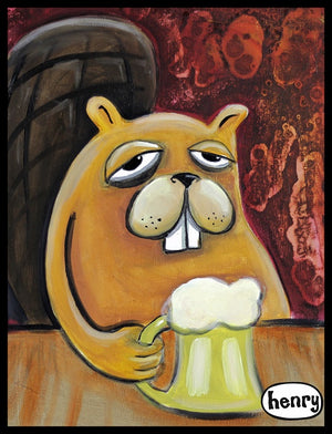 Beaver and Beer Sticker - Art of Henry
