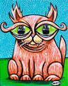 Cat Eyes Canvas Giclee Print Featuring Original Art by Seattle Mural Artist Ryan Henry Ward