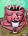 Coffee Drinking Coffee Canvas Giclee Print Featuring Original Art by Seattle Mural Artist Ryan Henry Ward