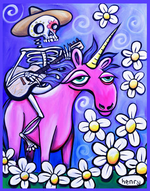 Skeleton Cowboy on a Unicorn Sticker - Art of Henry