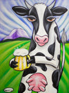 Cow with Beer Giclee Print Featuring Original Art by Seattle Mural Artist Ryan Henry Ward