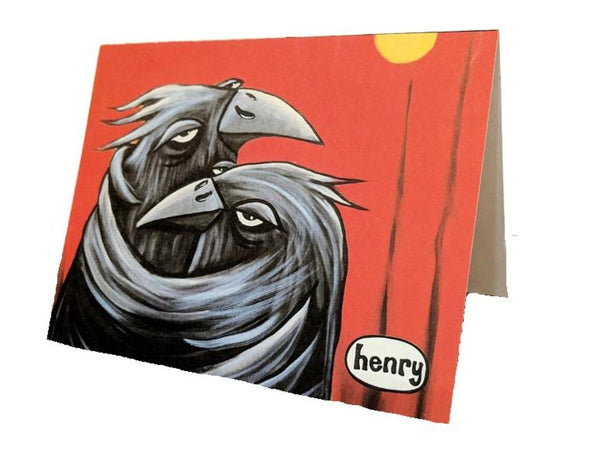 Crows Hugging Note Card - Art of Henry