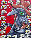 Crow with Pipe and Skulls Canvas Giclee Print Featuring Original Art by Seattle Mural Artist Ryan Henry Ward