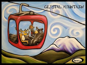 Gondola Fun Crystal Mountain Sticker - Art of Henry