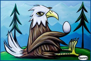 Eagle With Egg Sticker - Art of Henry