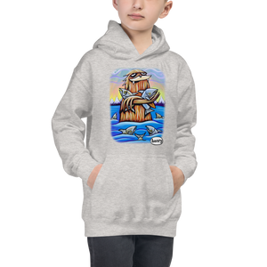 Sasquatch Hugging Salmon Youth Hoodie - Art of Henry