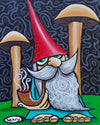 Gnome with Mushrooms Canvas Giclee Print Featuring Original Art by Seattle Mural Artist Ryan Henry Ward