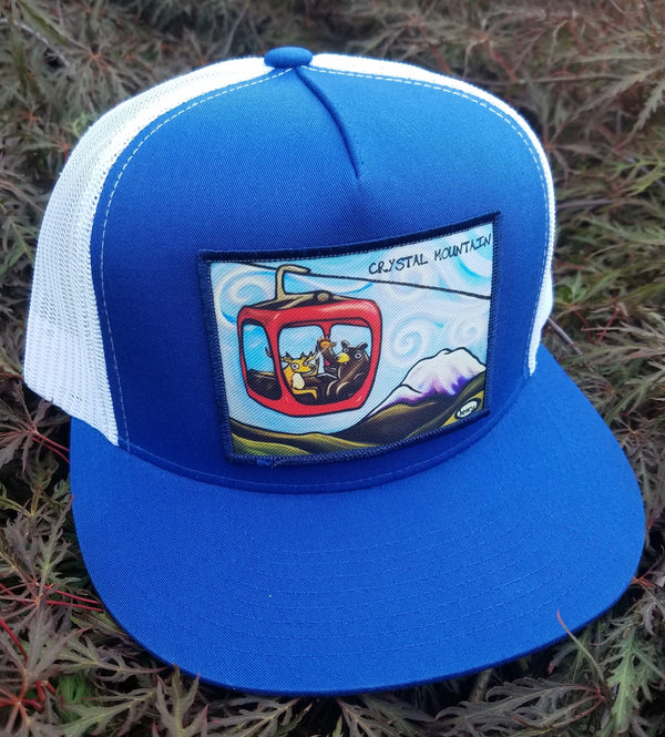 Gondola Fun - Crystal Mountain Flat Bill Trucker Hat - Art of Henry
