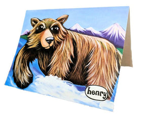 Grizzly Fishing Note Card - Art of Henry