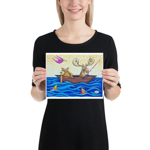 Moose and Bear Fishing - Henry Print - Art of Henry