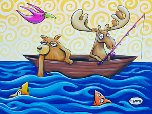 Bear and Moose Fishing Canvas Print - Art of Henry