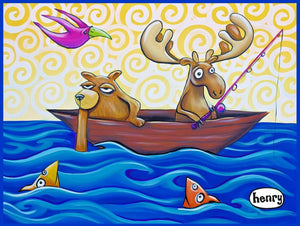 Moose and Bear Fishing Sticker - Art of Henry
