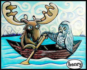 Moose and the Owl in Canoe Sticker - Art of Henry