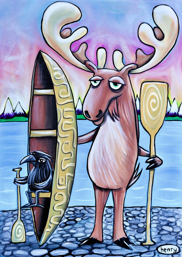 Moose and Raven Canoe Canvas Print - Art of Henry