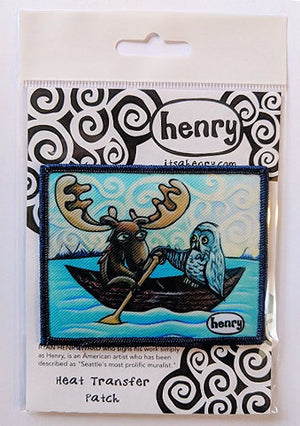 Moose and Owl in Canoe Patch - Art of Henry