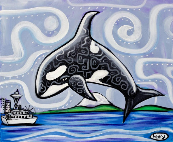 Orca Seattle Canvas Print - Art of Henry