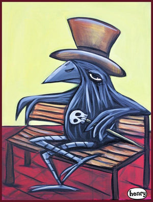 Raven on Bench Sticker - Art of Henry