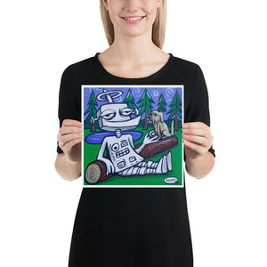 Robot with Dog on Log - Henry Print - Art of Henry