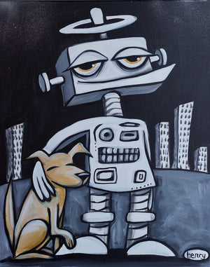 Robot with Dog Canvas Print - Art of Henry