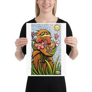 Sasquatch Hugging Flowers - Henry Print - Art of Henry