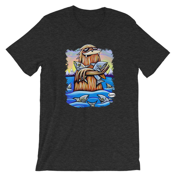 Sasquatch Hugging Salmon Youth T-Shirt - Art of Henry