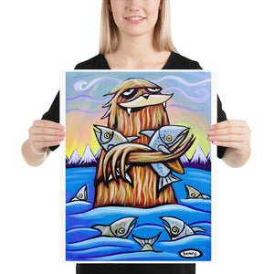 Sasquatch Hugging Salmon- Henry Print - Art of Henry