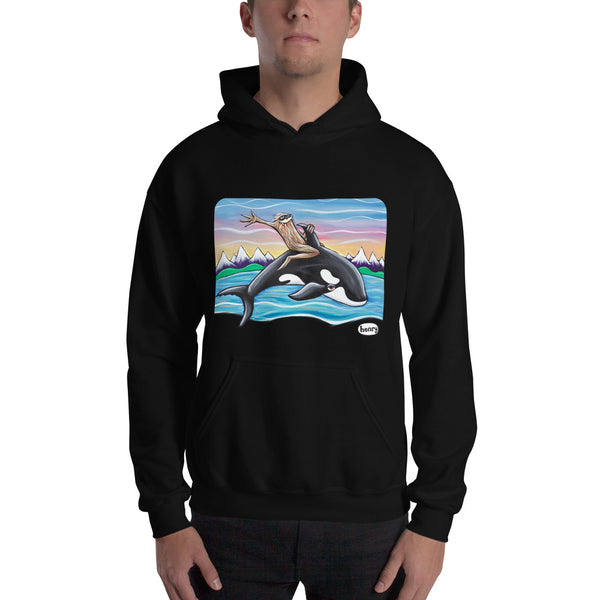 Sasquatch Riding an Orca Unisex Hoodie - Art of Henry