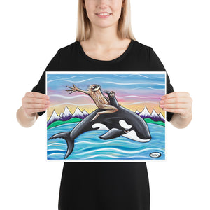 Sasquatch Riding an Orca - Henry Print - Art of Henry